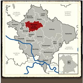 Lage der Stadt Neumarkt im Landkreis Neumarkt in der Oberpfalz